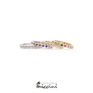 anelli fedine con zirconi bianchi o multicolore in 4 varianti