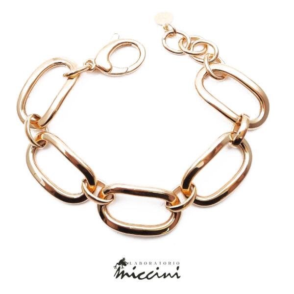 bracciale a catena a maglie ovali grandi in argento dorato