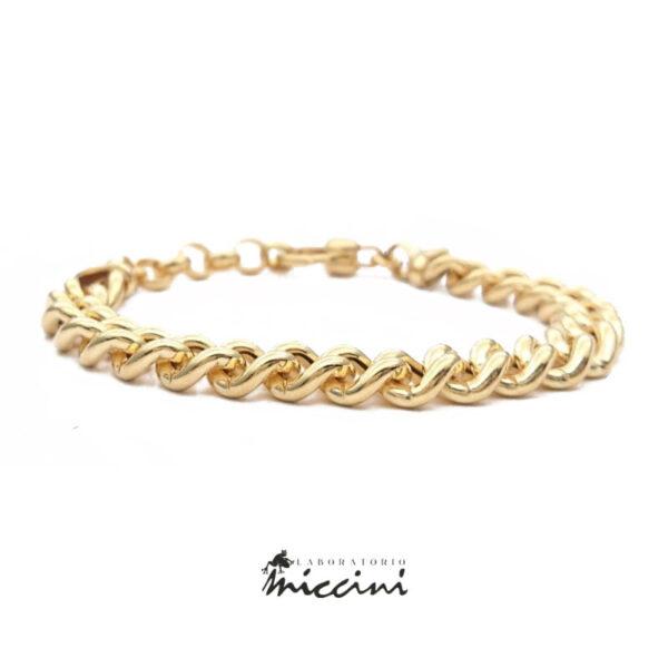 bracciale maglia grumetta in argento 925 dorato