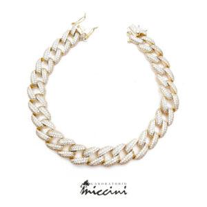bracciale grumetta in argento dorato e zirconi bianchi