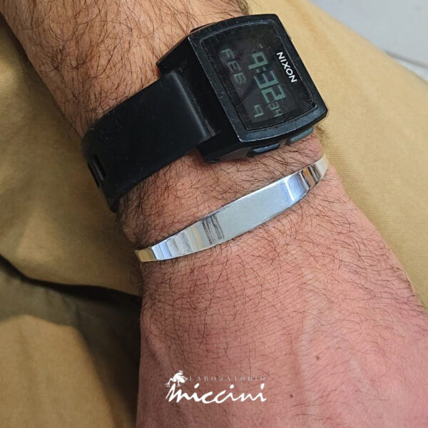 bracciale rigido a lastra d'argento personalizzabile