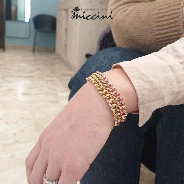 bracciali maglia grumetta in argento dorato o rosato