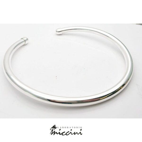 Girocollo rigido a tubo in argento misura grande