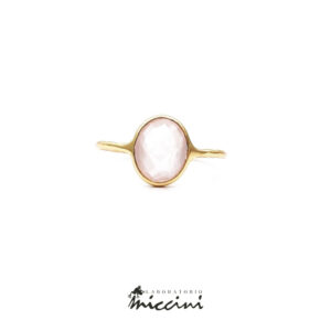 anello in argento 925 con quarzo rosa ovale