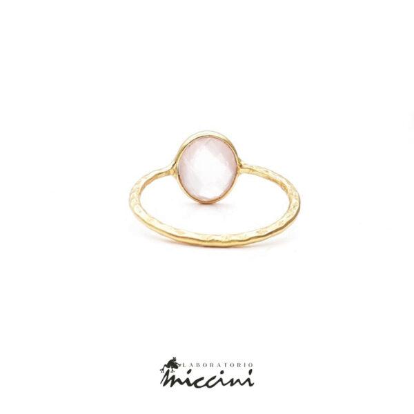 anello con quarzo rosa in argento 925