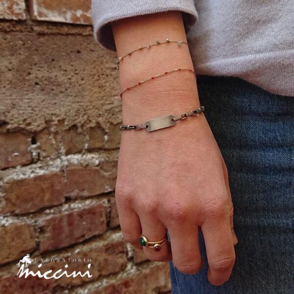 bracciale unisex in argento brunito con piastrina personalizzabile