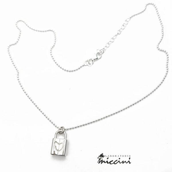 collana con lucchetto in argento 925