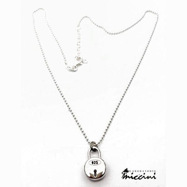 collana con ciondolo a lucchetto in argento 925