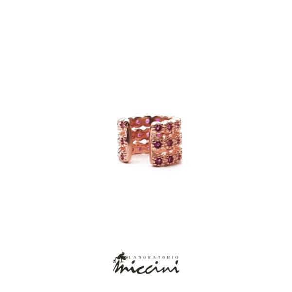 ear cuff con zirconi rossi in argento rosato