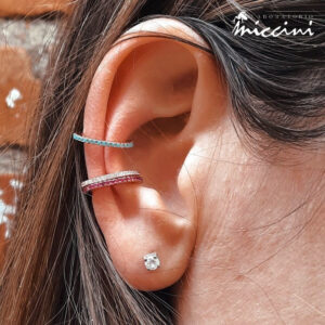 orecchini ear cuff in argento e zirconi colorati