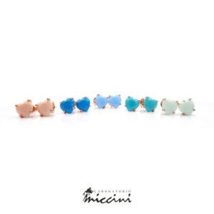 orecchini a cuore con zircone colorato in argento rosato