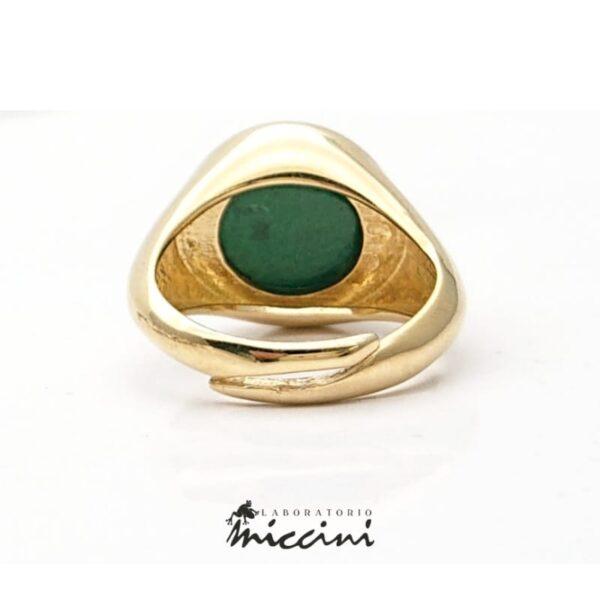 anello da mignolo in argento dorato con malachite rotonda