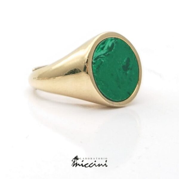 anello chevalier con malachite
