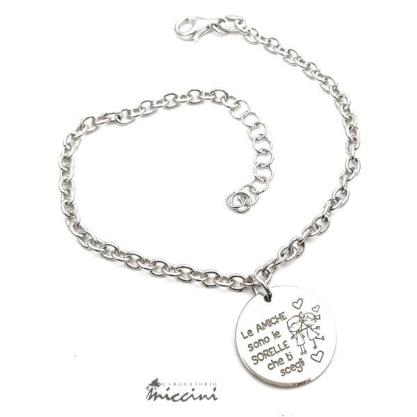 bracciale in argento 925 con ciondolo rotondo dedicato alle amiche