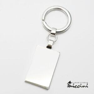 portachiavi rettangolare in argento 925 personalizzabile con incisione