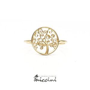 anello albero della vita in oro giallo