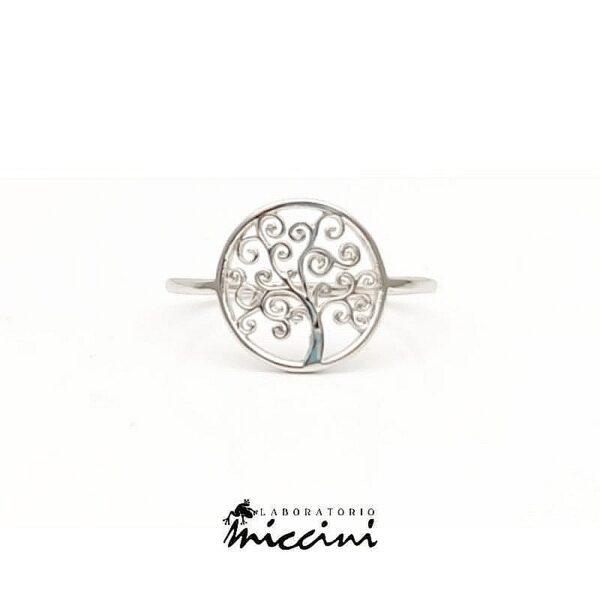 anello in oro bianco con albero della vita
