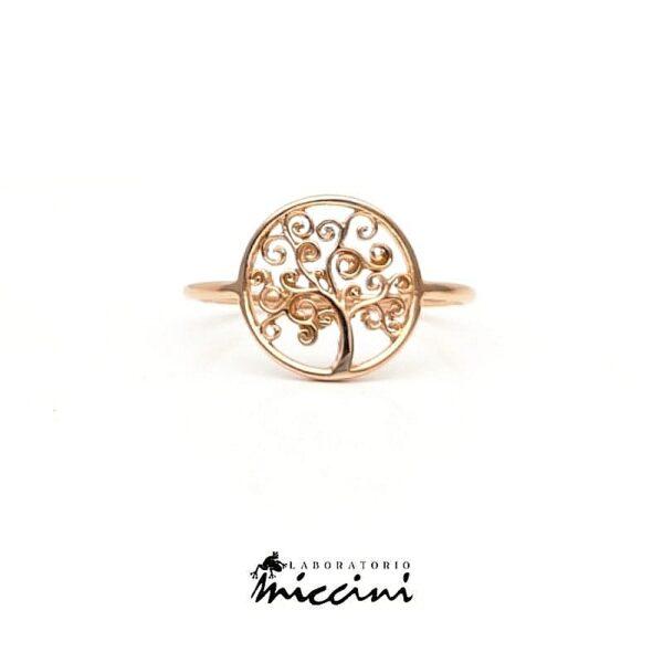 anello in oro rosa con albero della vita