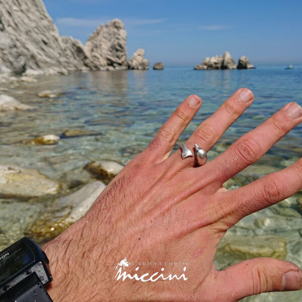 anello in argento brunito a forma di delfino