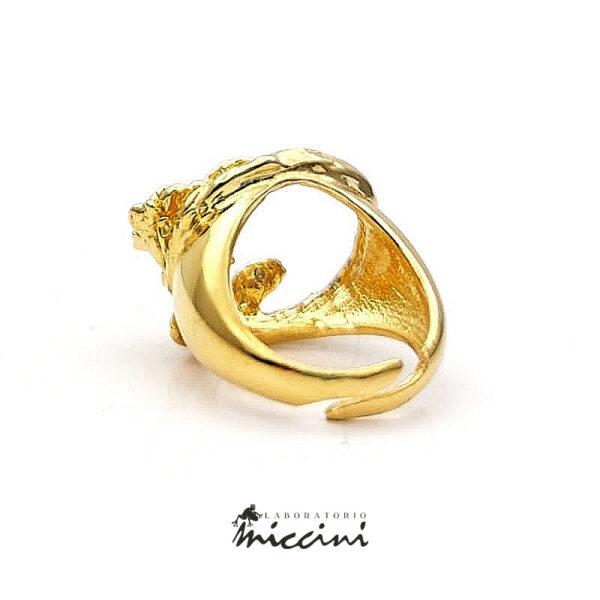 anello regolabile in argento dorato con tralcio di rosa