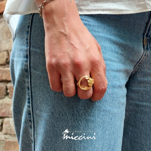 anello romantico in argento con rosa
