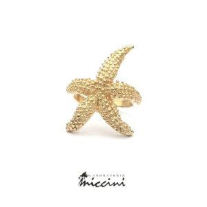 anello stella marina in argento 925 dorato