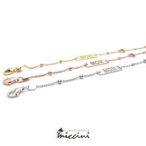 bracciali in argento rodiato, rosato o dorato per la festa della mamma