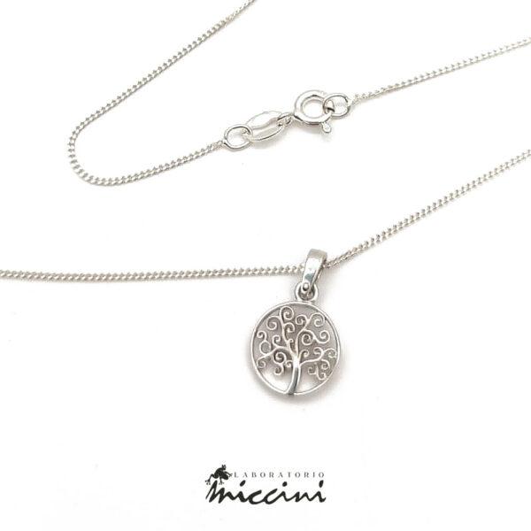 collana albero della vita in oro bianco e argento