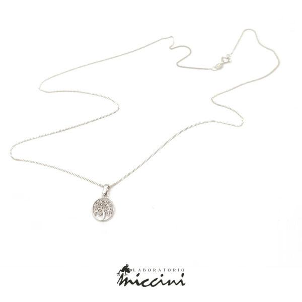 collana in argento 925 con ciondolo in oro bianco