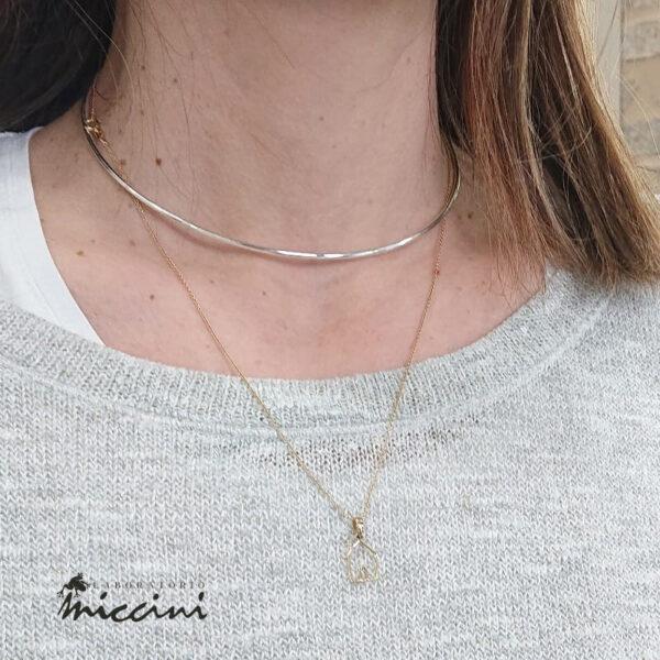 collana girocollo rigida in argento 925 rodiato