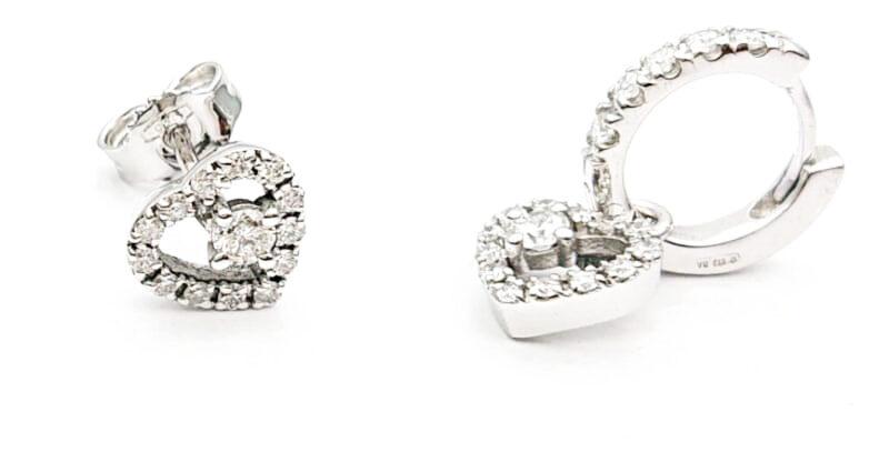 Orecchini a cuore con diamanti