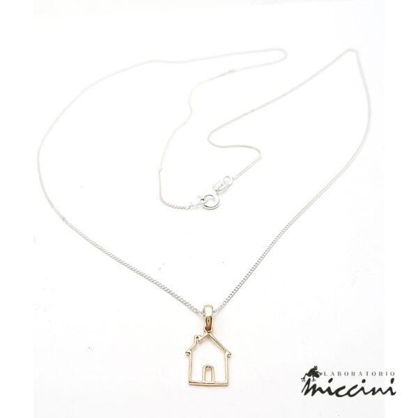 collana in argento 925 con ciondolo a forma di casetta in oro