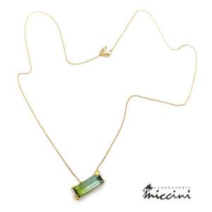 collana in oro con tormalina verde