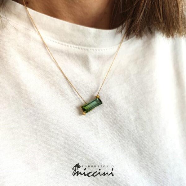 collana con ciondolo tormalina verde taglio rettangolare