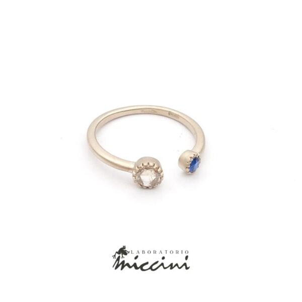 anello con zaffiro e diamante taglio antico