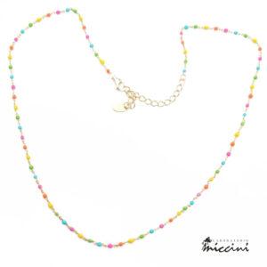 collanina girocollo con catenina in argento dorato e perline smaltate