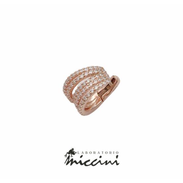 Orecchino Ear cuff in argento rosato con zirconi