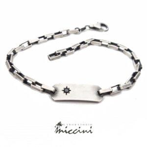 bracciale in argento con diamante nero